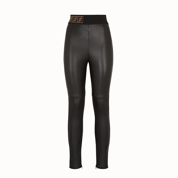 FENDI LEGGINGS - Black leather trousers - view 1 small thumbnail