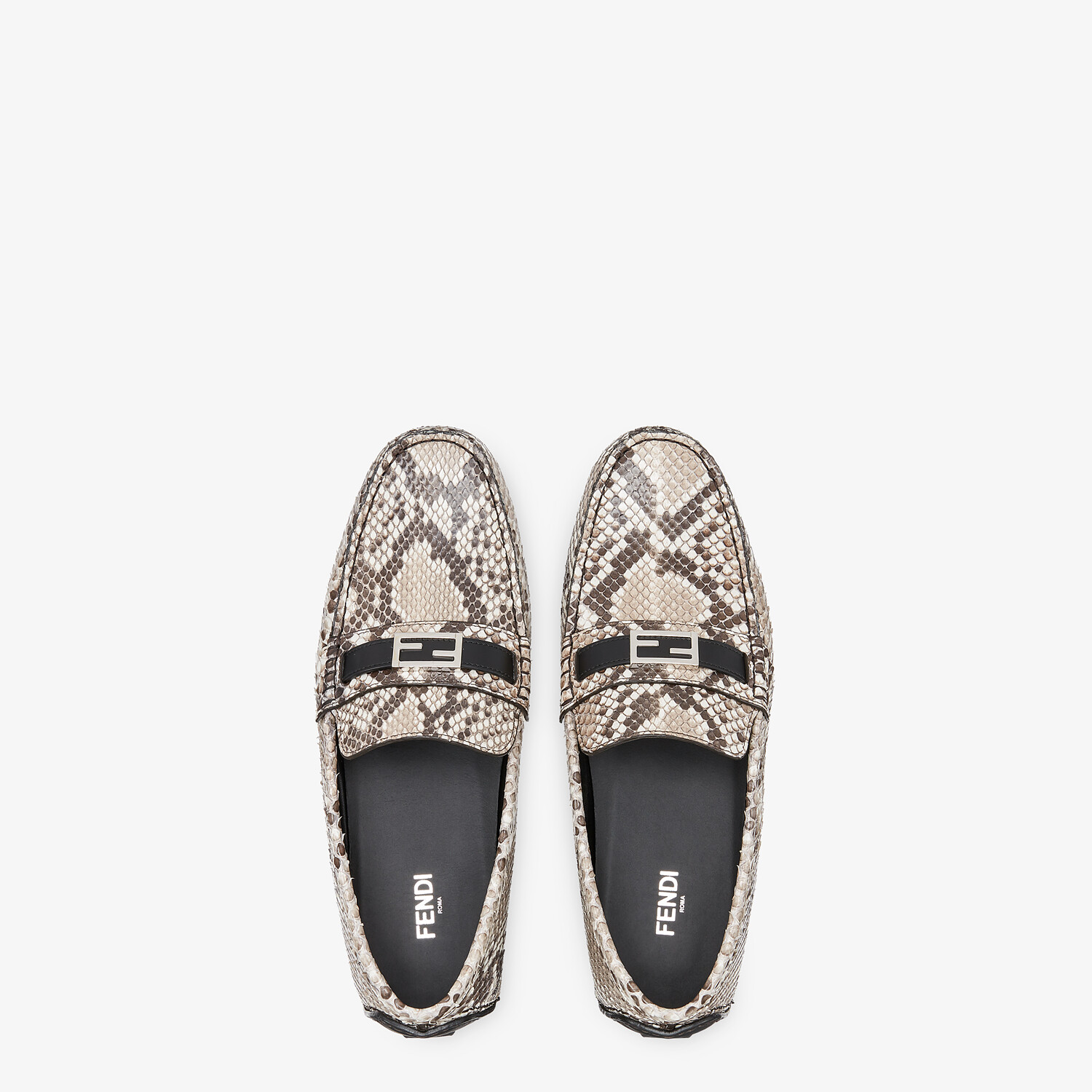 FENDI LOAFERS - Beige python leather drivers - view 4 detail