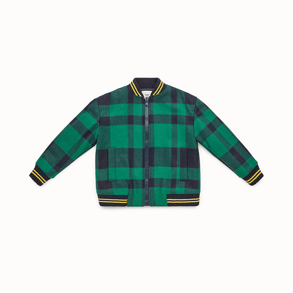 FENDI BOMBER - Junior boy's green and blue tartan bomber jacket - view 1 small thumbnail