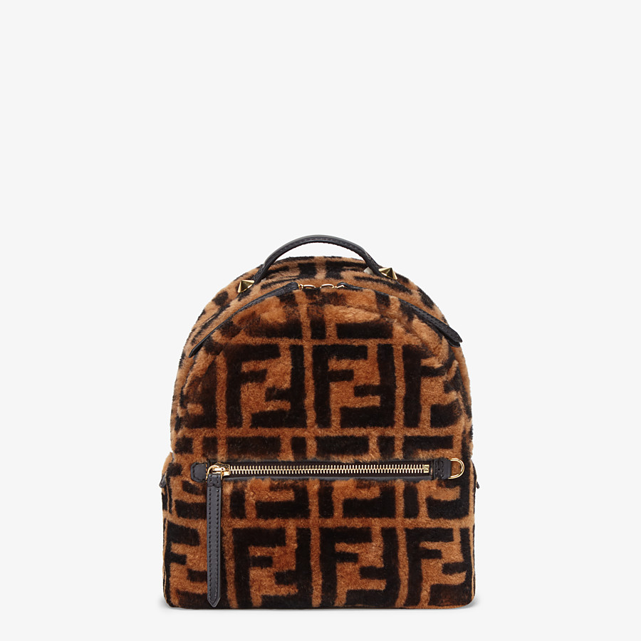 FENDI MINI BACKPACK - Small backpack in brown sheepskin - view 1 detail