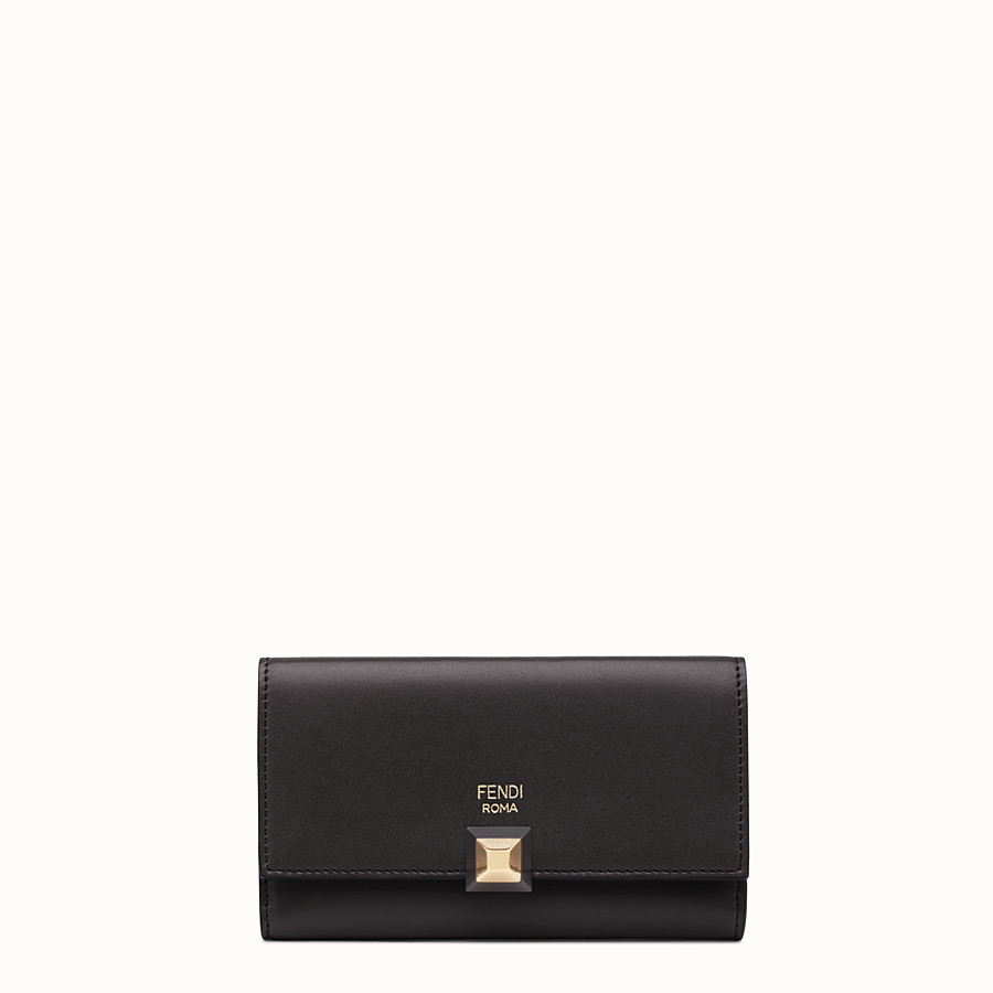 FENDI WALLET - Slim continental wallet in black leather - view 1 detail