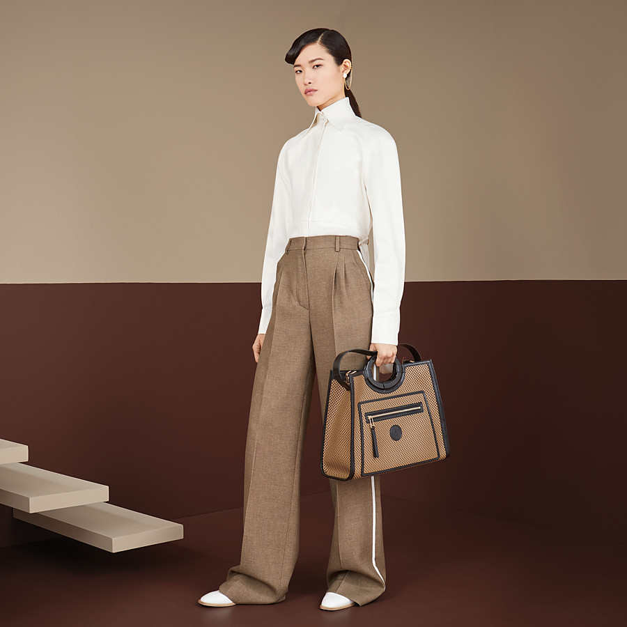 FENDI TROUSERS - Beige silk and wool trousers - view 4 detail