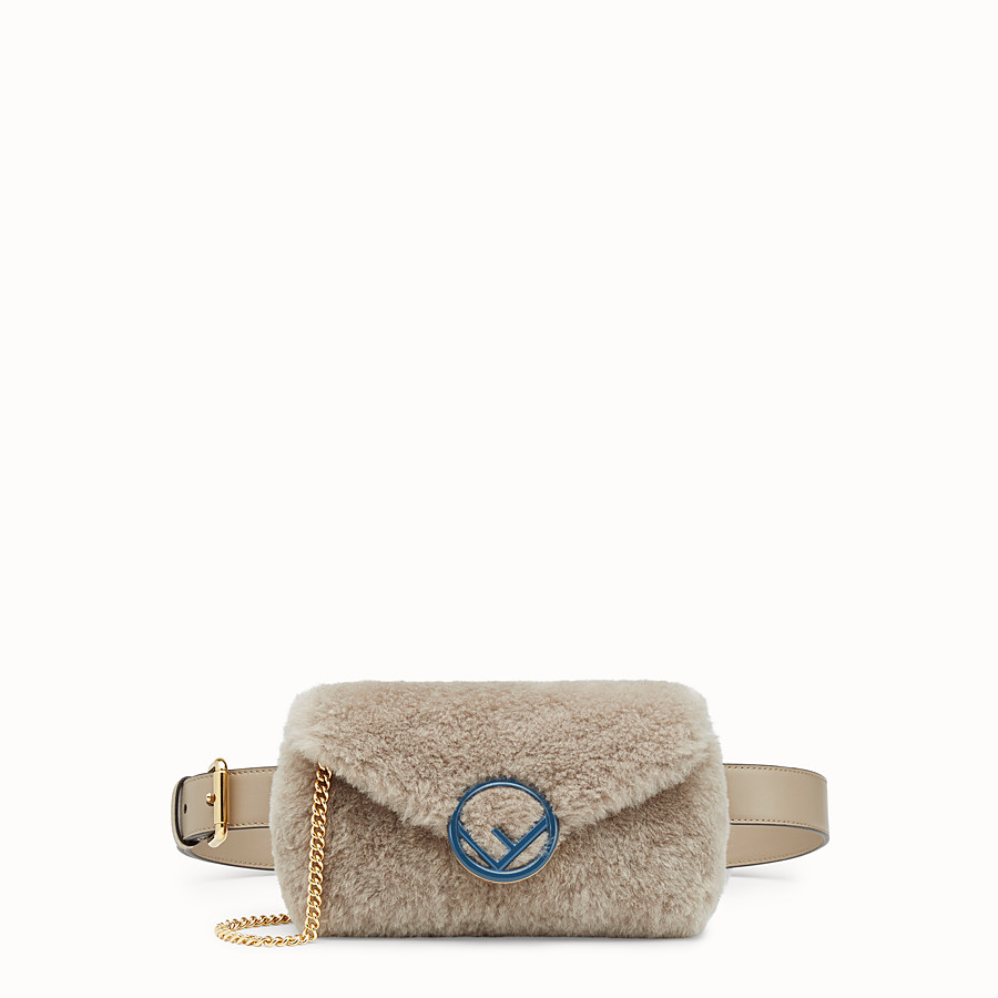 FENDI BELT BAG - Beige sheepskin belt bag - view 1 detail