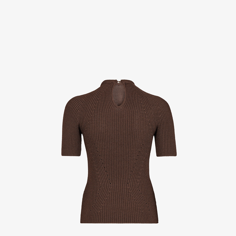 FENDI JUMPER - Brown silk pullover - view 2 detail
