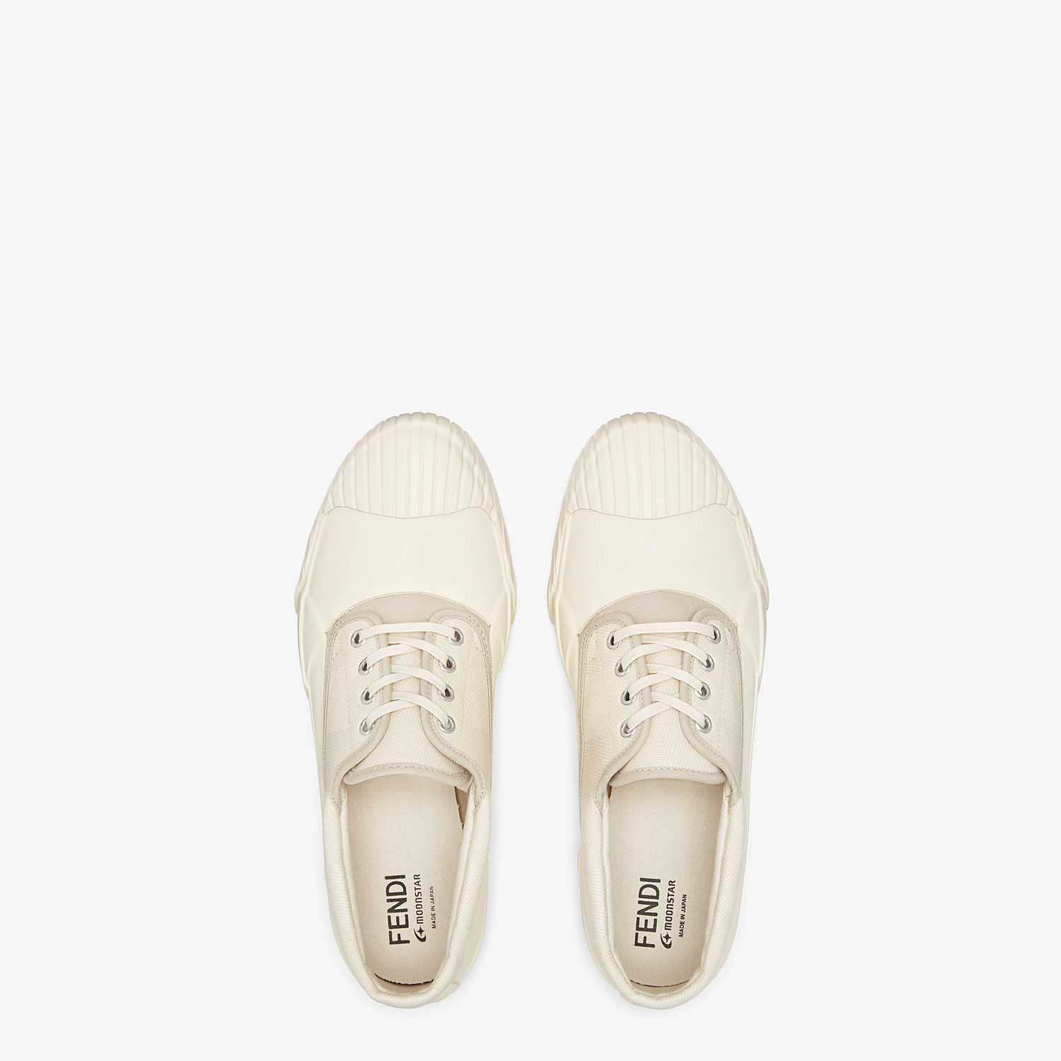 FENDI FENDI AND MOONSTAR SNEAKERS - Low-tops in canvas and white rubber - view 4 detail