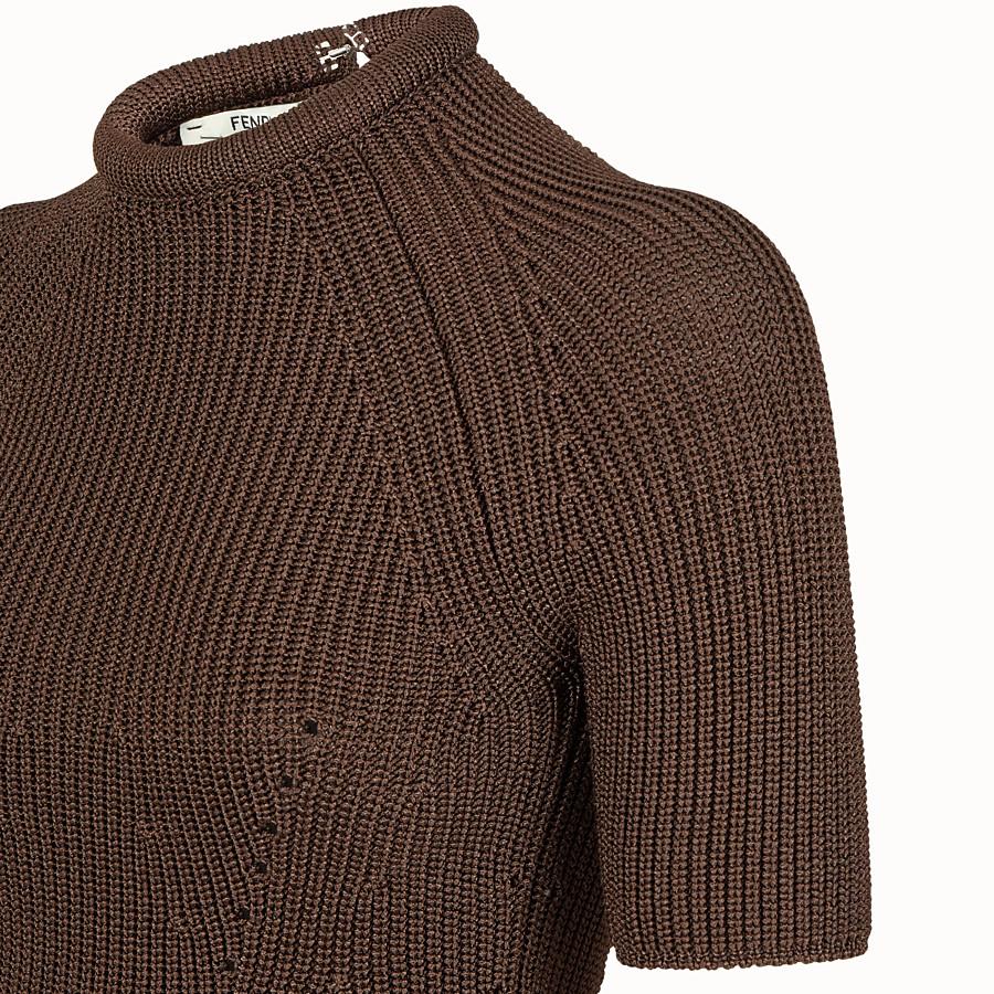 FENDI JUMPER - Brown silk pullover - view 3 detail