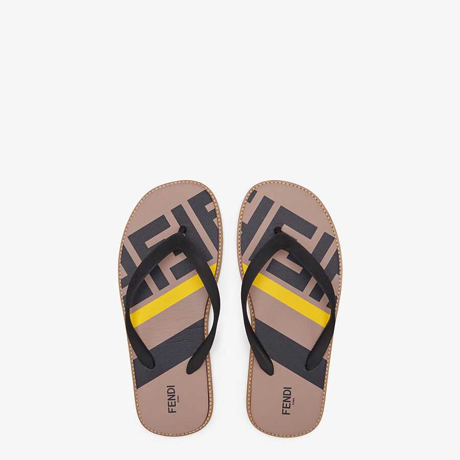FENDI SANDALS - Black rubber slides - view 4 detail