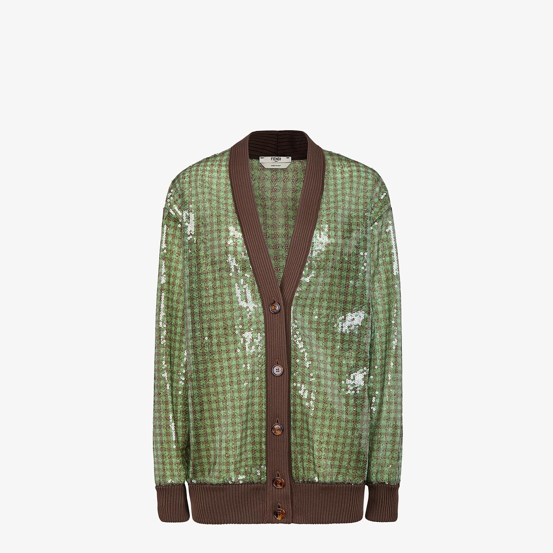 FENDI CARDIGAN - Check sequin blouson jacket - view 1 detail