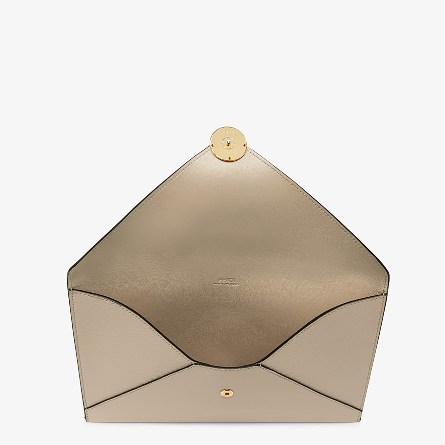 FENDI FLAT POUCH LARGE - Beige leather pouch - view 3 detail