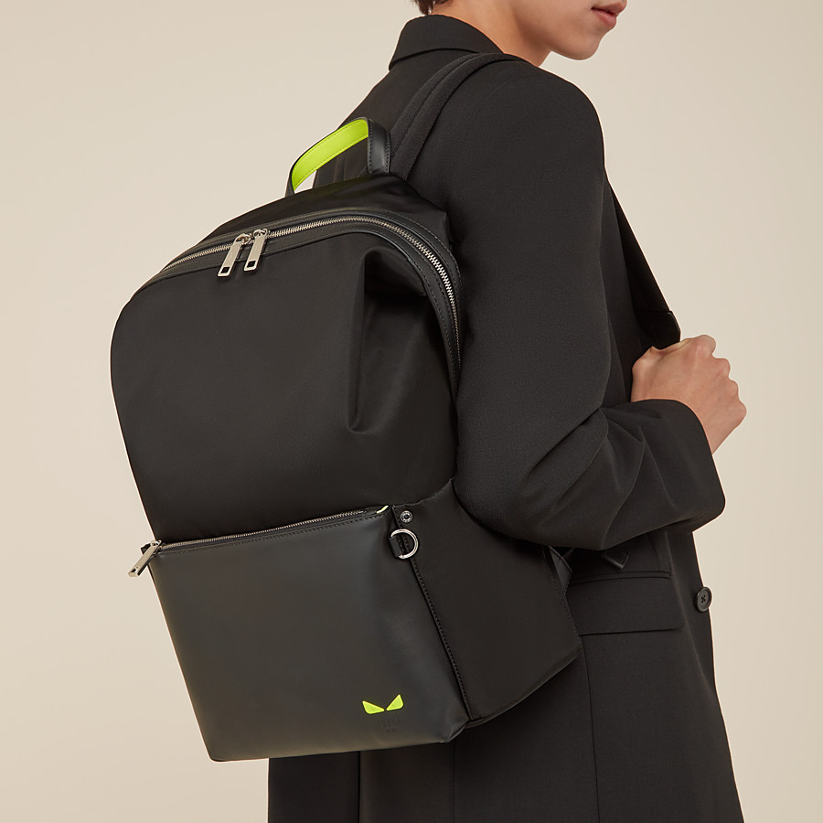 FENDI BACKPACK - Black leather and nylon backpack - view 5 detail
