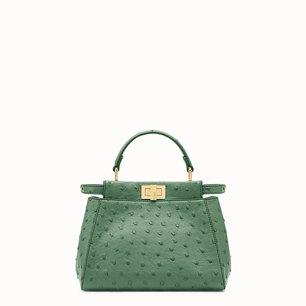 FENDI PEEKABOO MINI - Green ostrich leather handbag. - view 1 small thumbnail