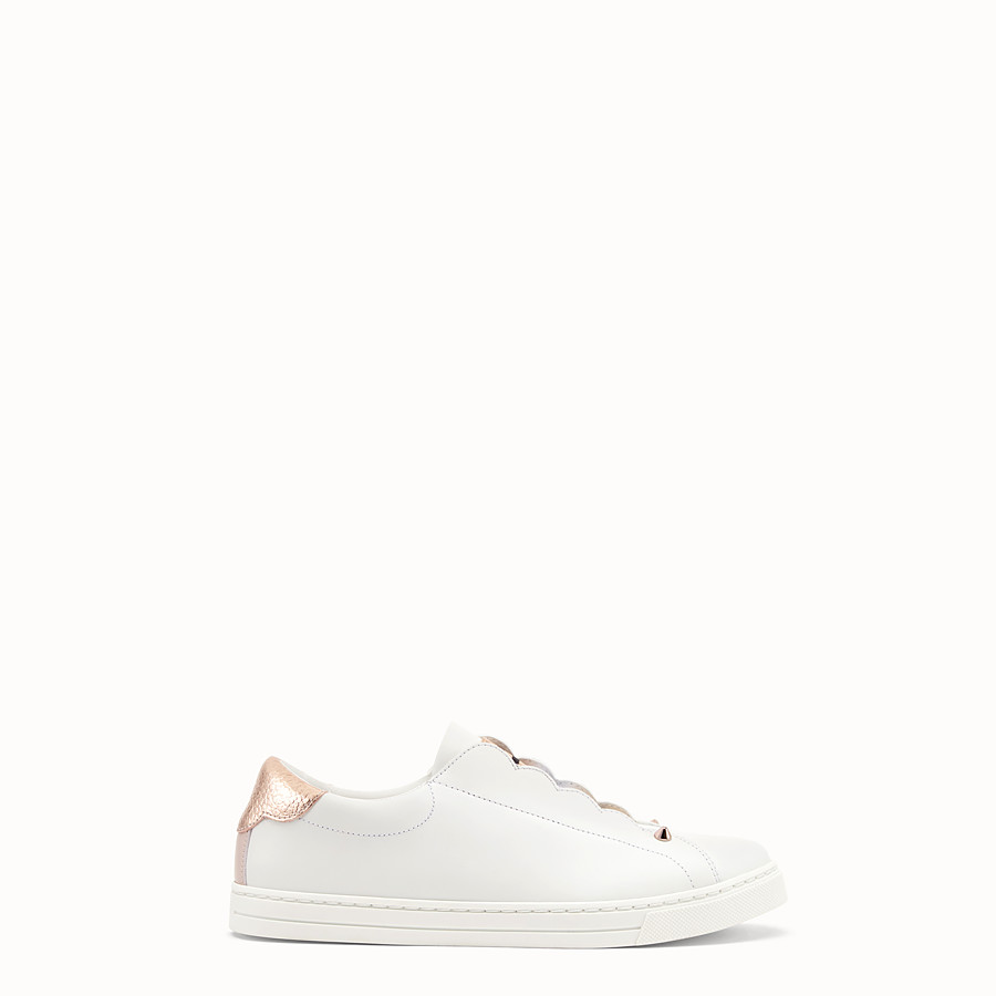 FENDI SNEAKERS - Chaussures sans lacets en cuir blanc - view 1 detail