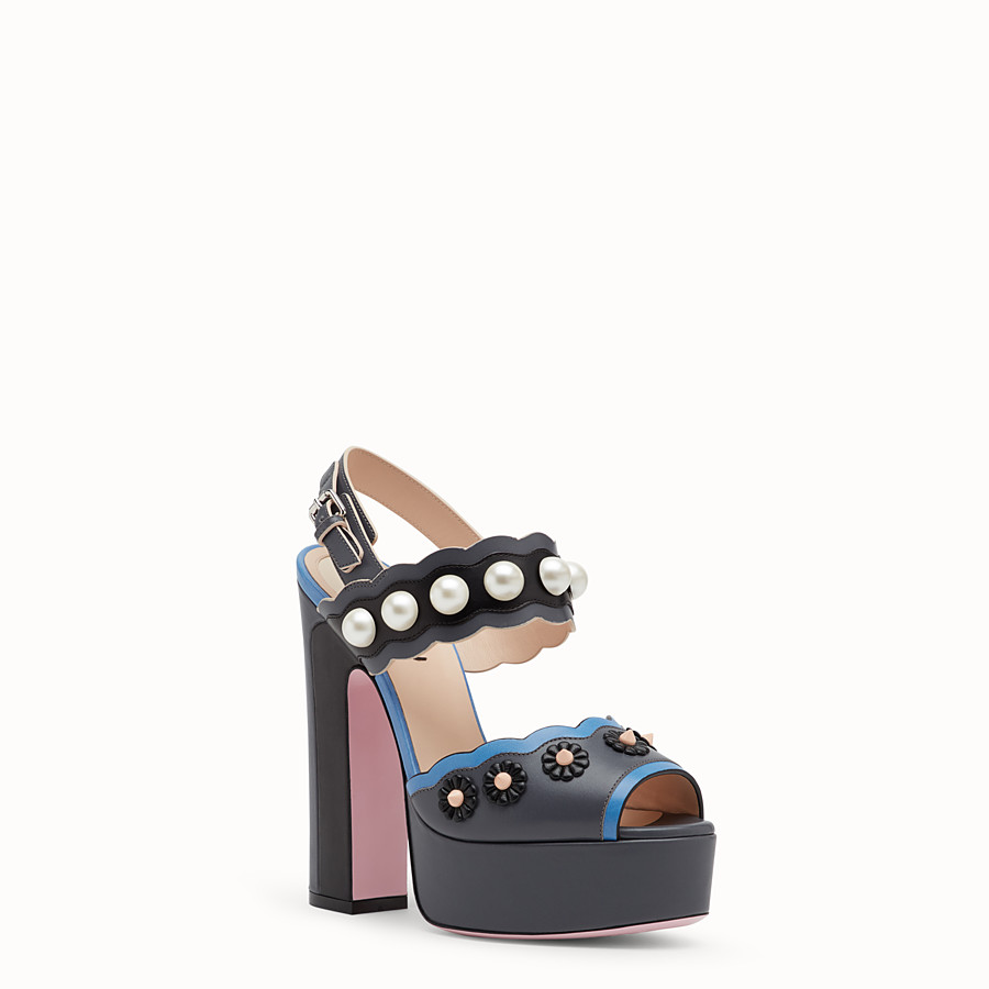 FENDI SANDALS - Heeled sandals in multicolour leather - view 2 detail