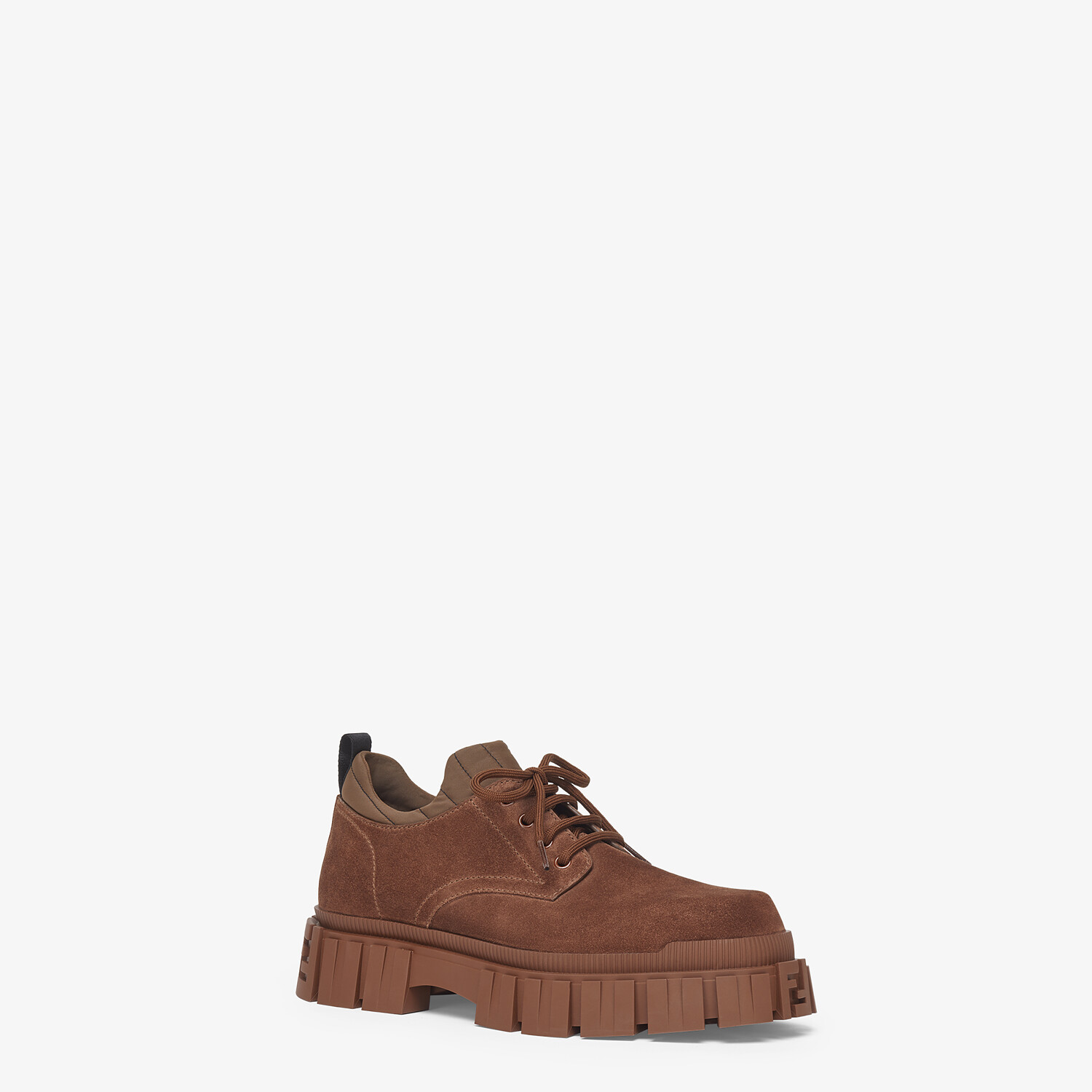 FENDI LACE-UP - Brown suede lace-ups - view 2 detail