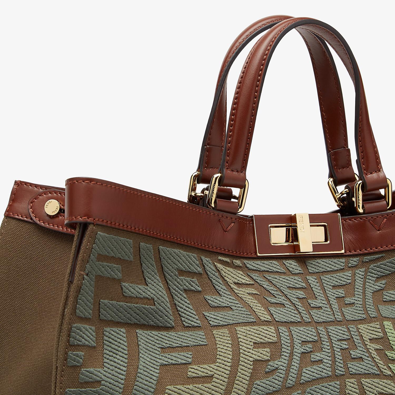 FENDI PEEKABOO X-TOTE - Embroidered green canvas bag - view 6 detail