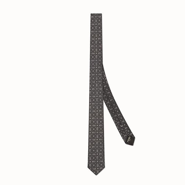 FENDI TIE - 灰色斜紋真絲領帶 - view 1 小型縮圖