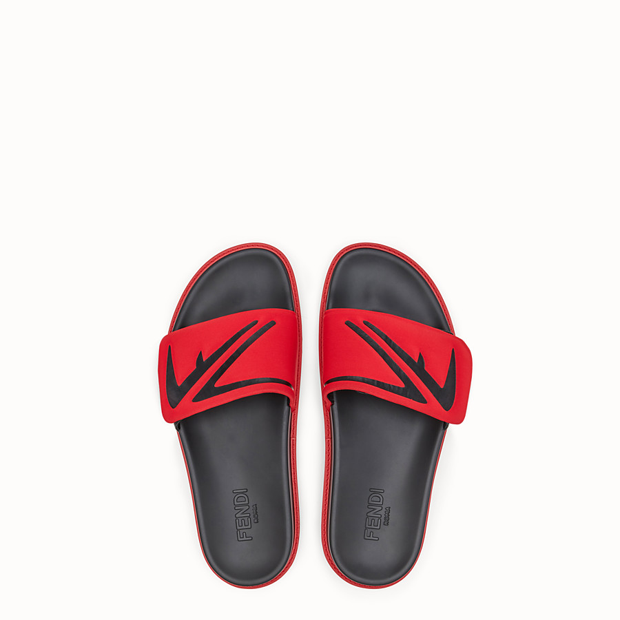 FENDI SLIDES - Red leather and scuba slides - view 4 detail