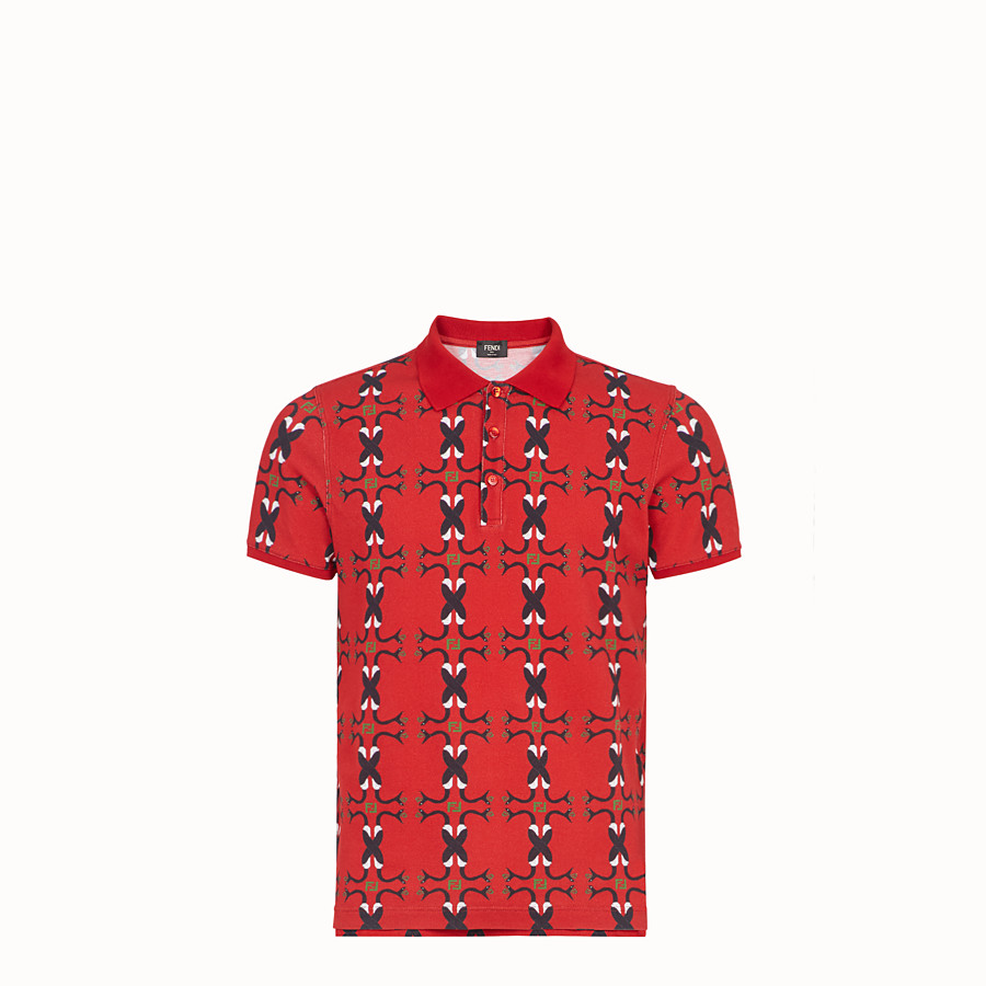 FENDI T-SHIRT - Red cotton polo shirt - view 1 detail