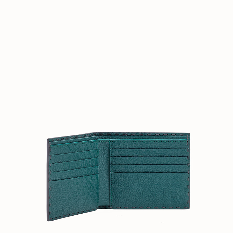 FENDI WALLET - Gray leather bi-fold wallet - view 3 detail