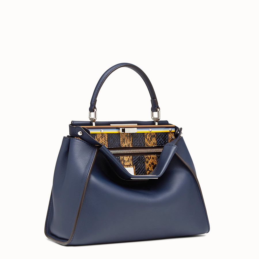 FENDI PEEKABOO REGULAR - Blue leather handbag - view 2 detail