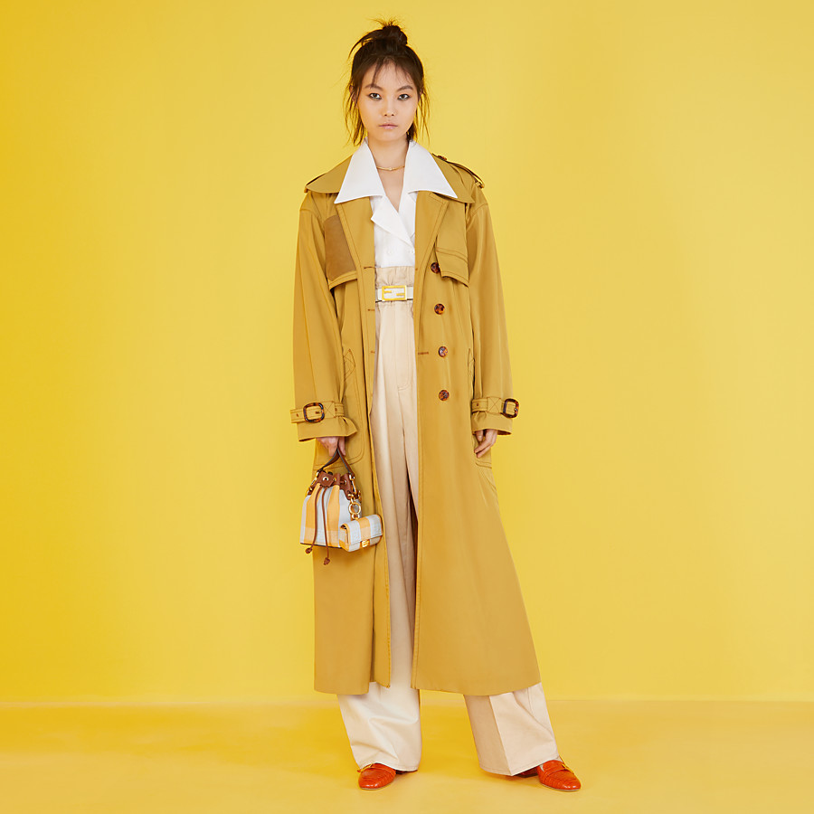 FENDI OVERCOAT - Yellow nylon trench coat - view 4 detail