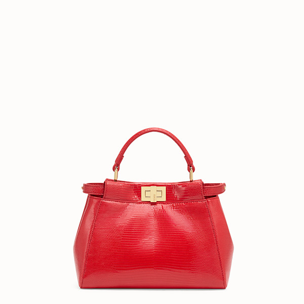 FENDI PEEKABOO ICONIC MINI - Borsa in lizard rossa - vista 1 thumbnail piccola
