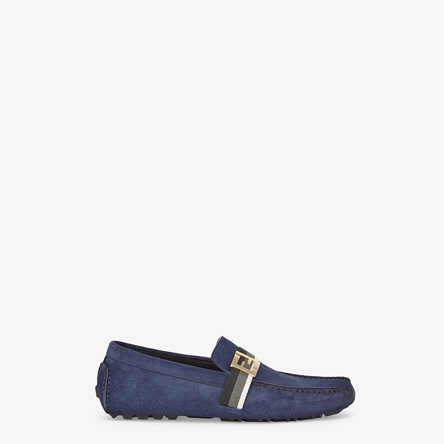 FENDI LOAFERS - Blue suede drivers - view 1 detail