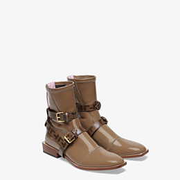 FENDI ANKLE BOOTS - Glossy beige neoprene low ankle boots - view 4 thumbnail