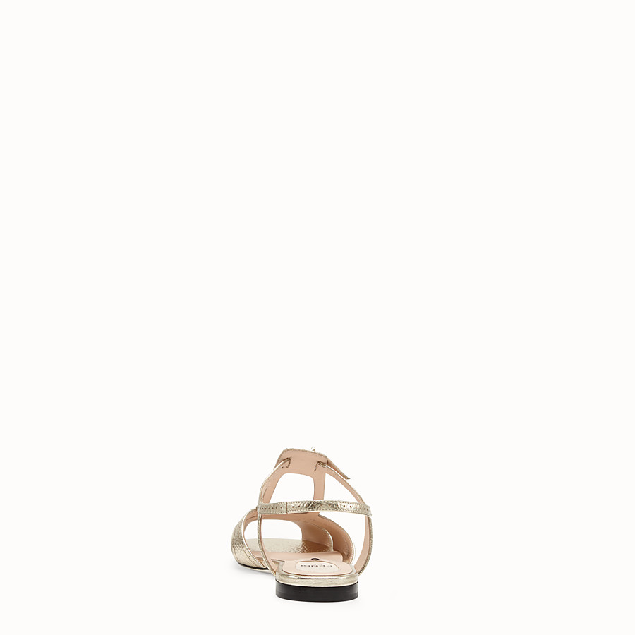 FENDI SANDALS - Golden leather flats - view 3 detail