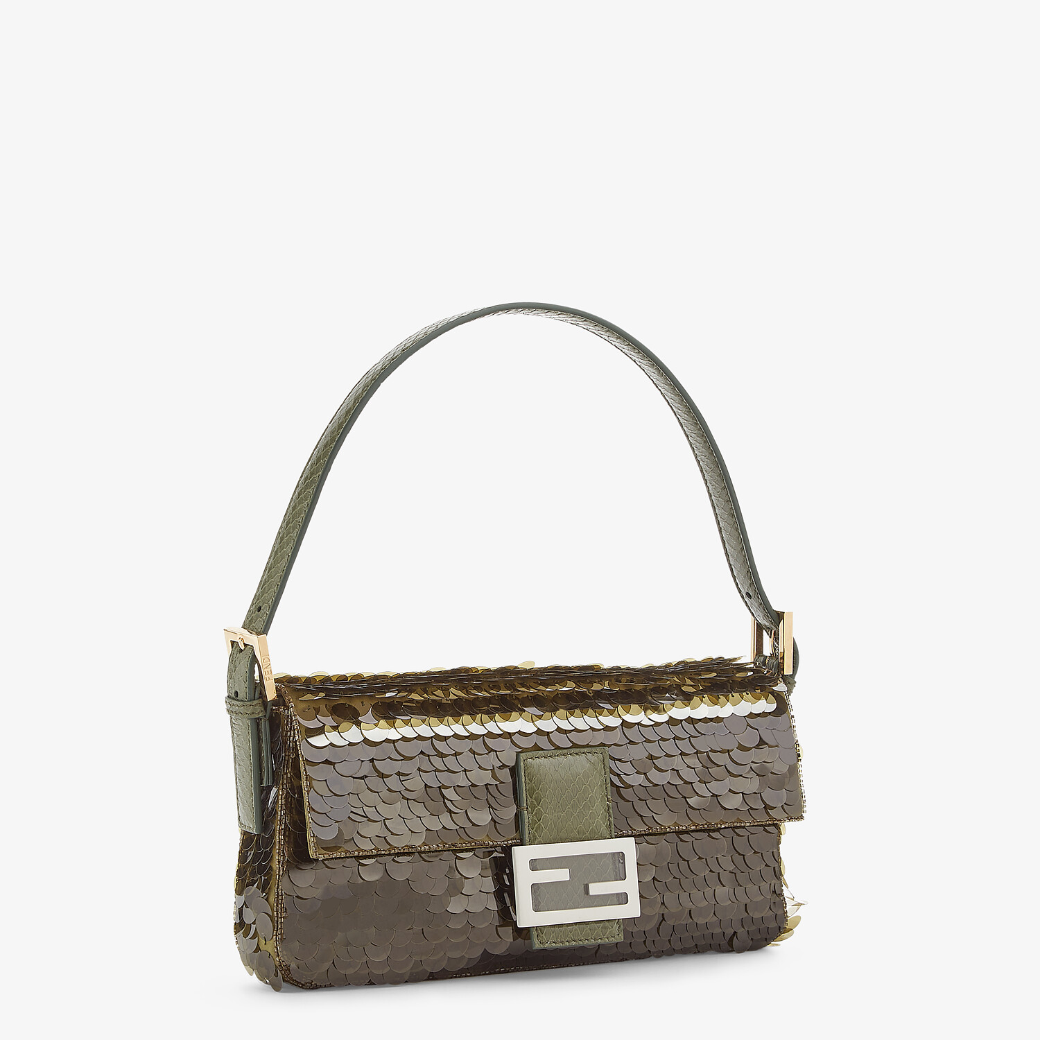 FENDI BAGUETTE 1997 - Green satin bag with sequins - view 2 detail