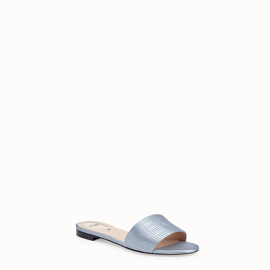 FENDI SABOTS - Grey satin slides - view 2 detail