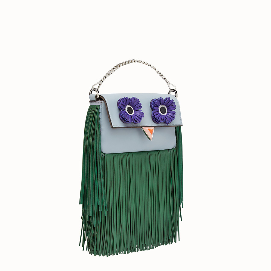 FENDI MICRO BAGUETTE - Light blue nappa micro-bag with fringe - view 2 detail