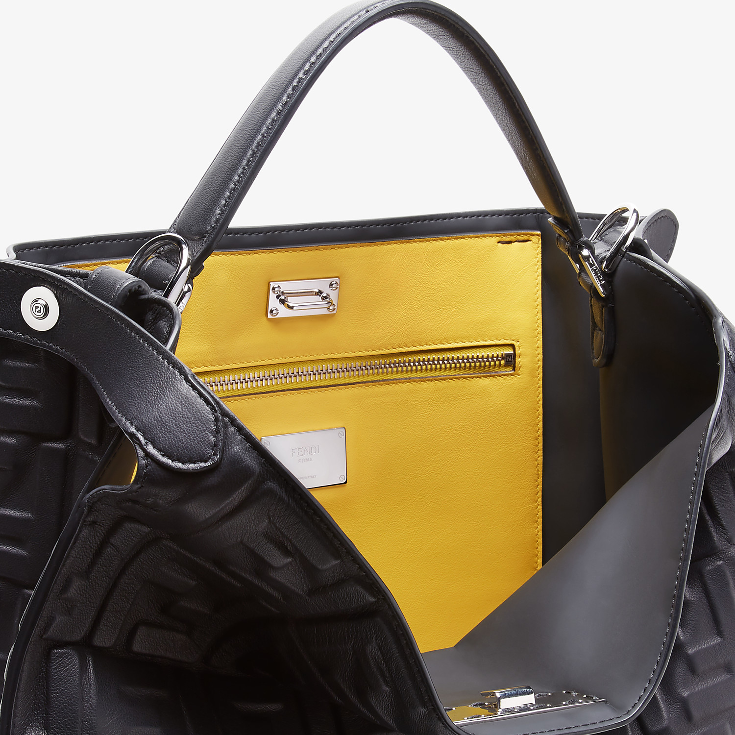 FENDI PEEKABOO X-LITE FIT - Black nappa leather bag - view 6 detail