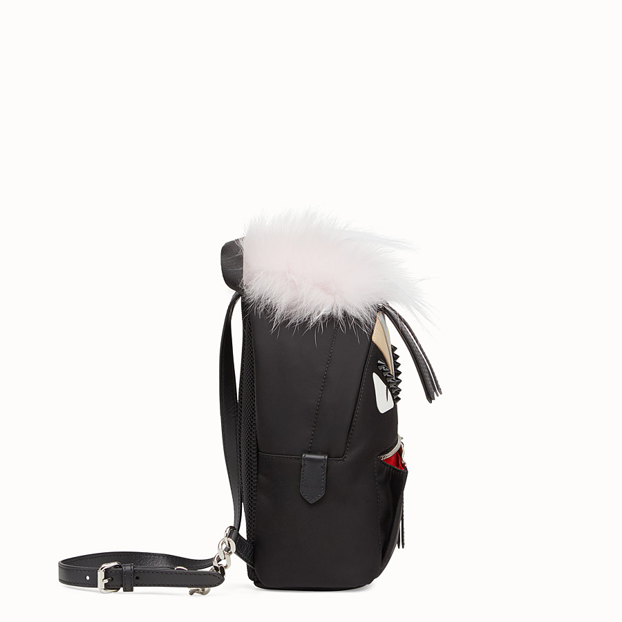 FENDI BACKPACK MINI - Small black fabric and leather backpack - view 2 detail