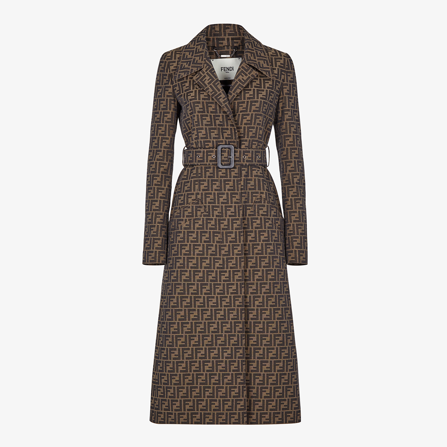 FENDI OVERCOAT - Brown canvas trench coat - view 1 detail