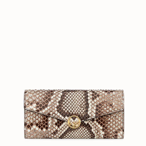 FENDI CONTINENTAL WITH CHAIN - Multicolour leather wallet with exotic details - view 1 small thumbnail
