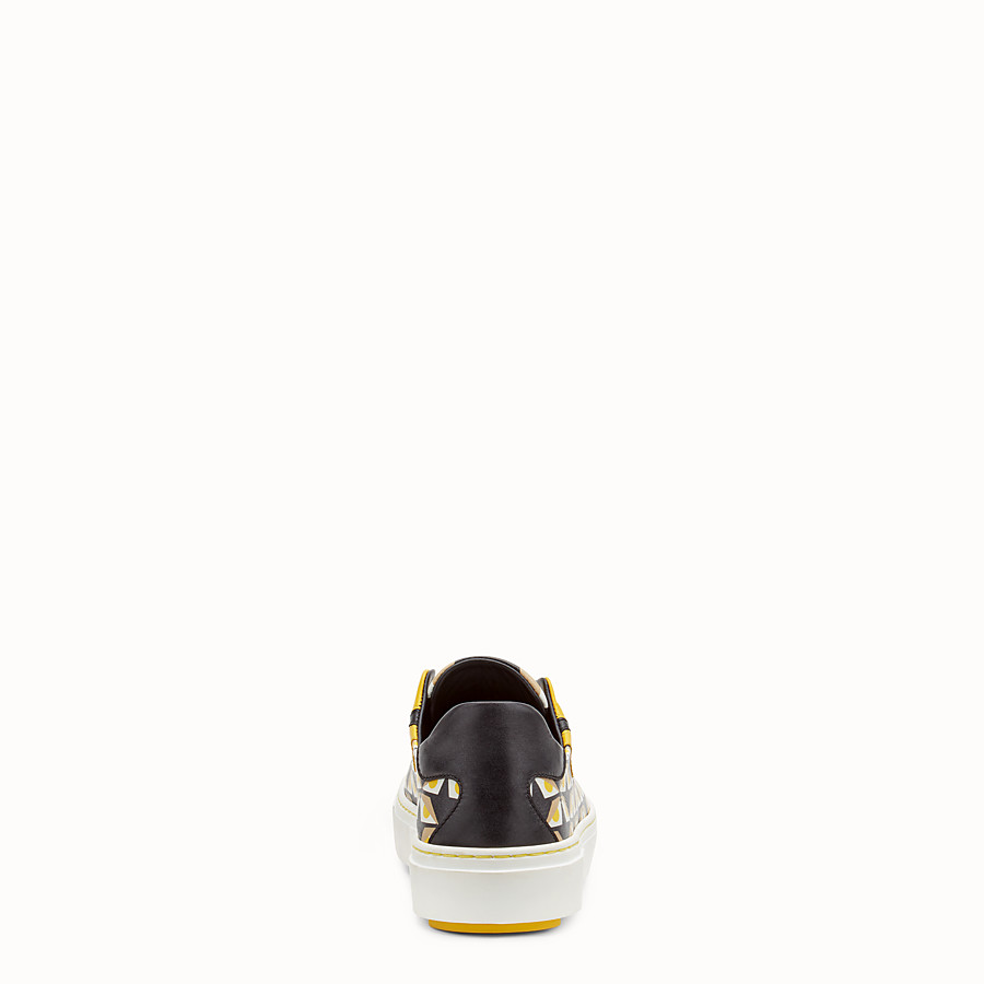 FENDI SNEAKER - in black leather with geometric print - view 3 detail