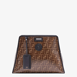 FENDI MEDIUM PEEKABOO DEFENDER - Peekaboo cover in brown fabric - view 1 thumbnail