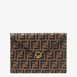 FENDI FLAT POUCH - Brown leather pouch - view 1 thumbnail