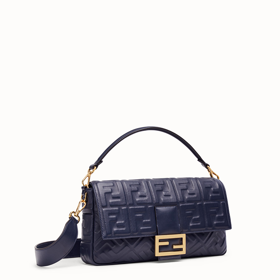 FENDI BAGUETTE LARGE - Blue nappa leather bag - view 3 detail