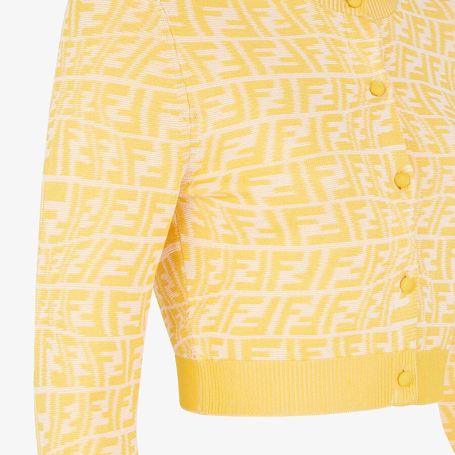 FENDI CARDIGAN - Yellow viscose cardigan - view 3 detail