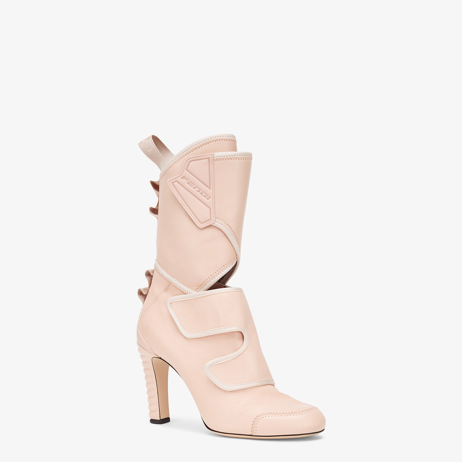 FENDI ANKLE BOOTS - Pink leather Promenade Booties - view 2 detail