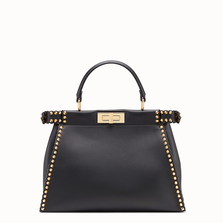 FENDI PEEKABOO REGULAR - Sac en cuir noir - view 3 detail