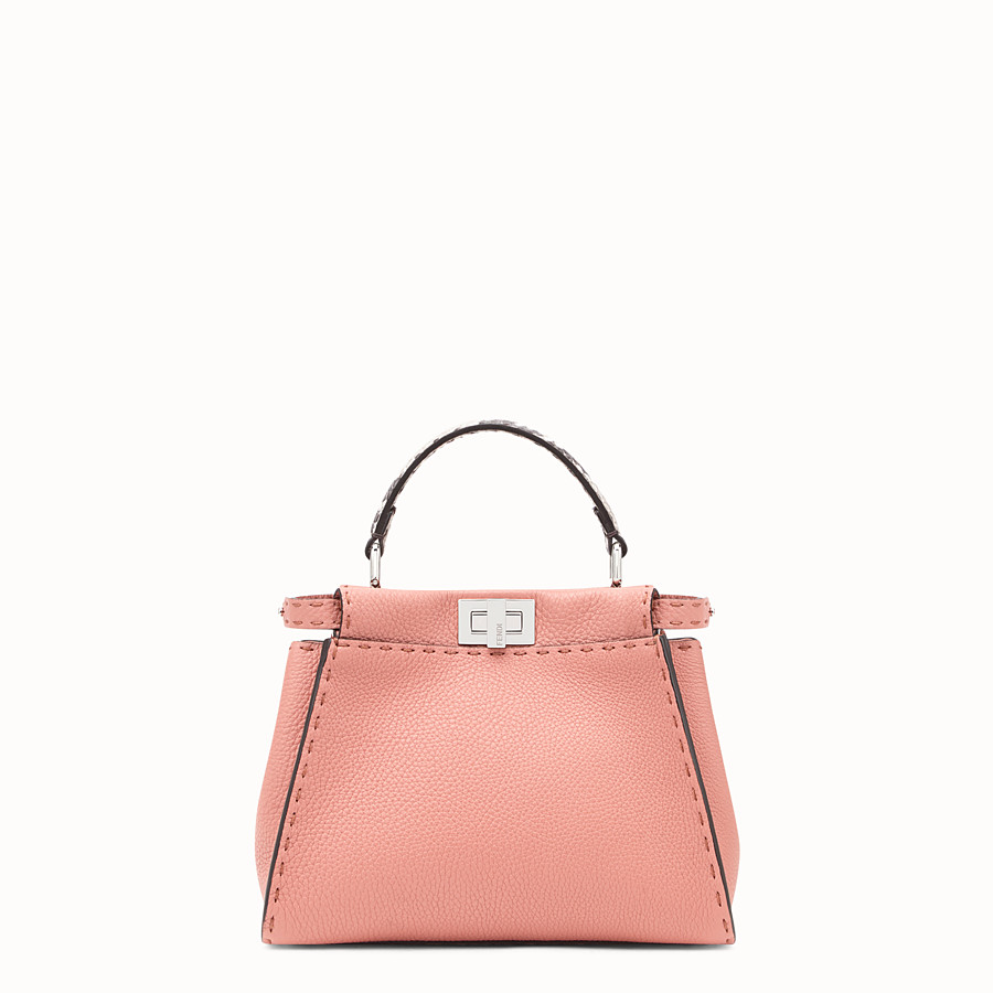 FENDI PEEKABOO MINI - Pink leather bag with exotic details - view 1 detail