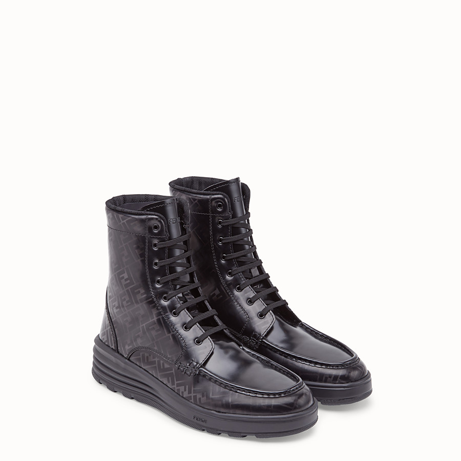 FENDI BOOTIES - Black leather combat boots - view 4 detail
