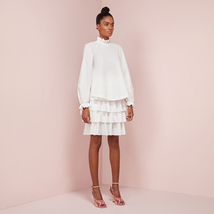 FENDI SKIRT - White cotton skirt - view 4 detail