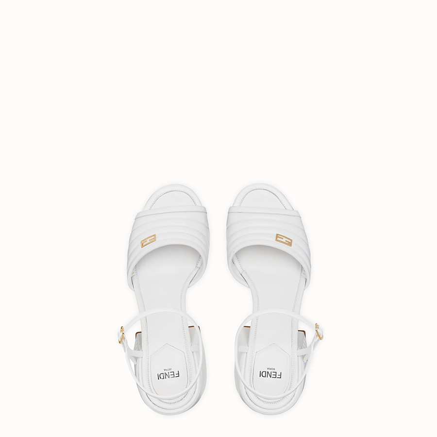 FENDI SLINGBACK - White leather sandals - view 4 detail