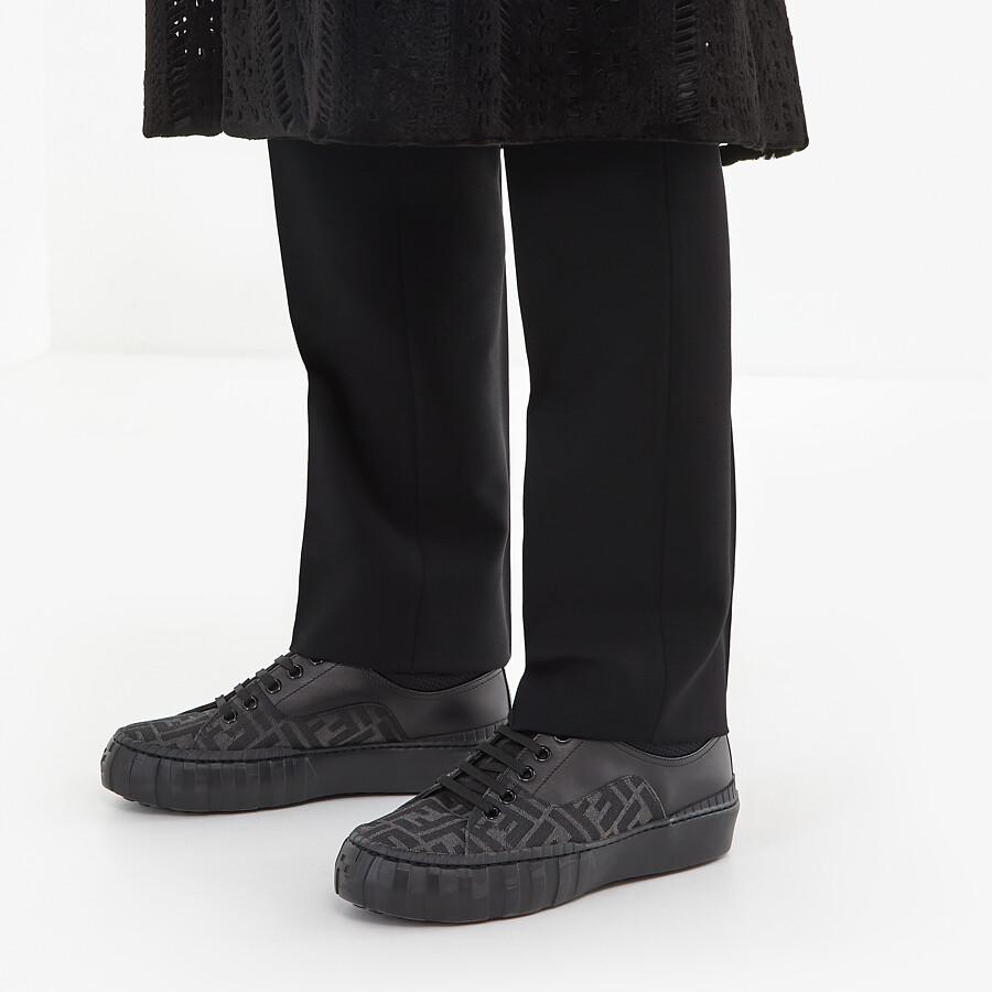 FENDI SNEAKERS - Black fabric low-tops - view 5 detail