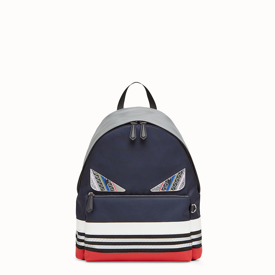 FENDI BACKPACK - Multicolored nylon and leather backpack - view 1 detail