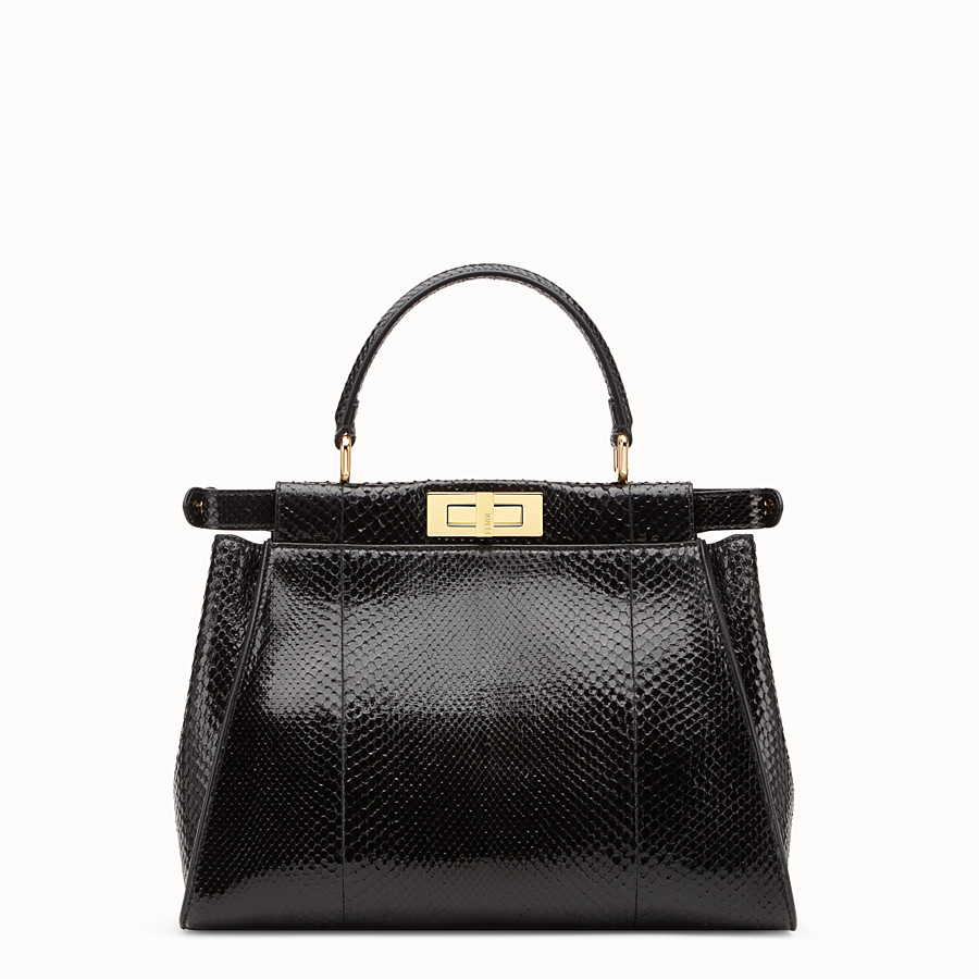 FENDI PEEKABOO REGULAR - Black python handbag. - view 3 detail